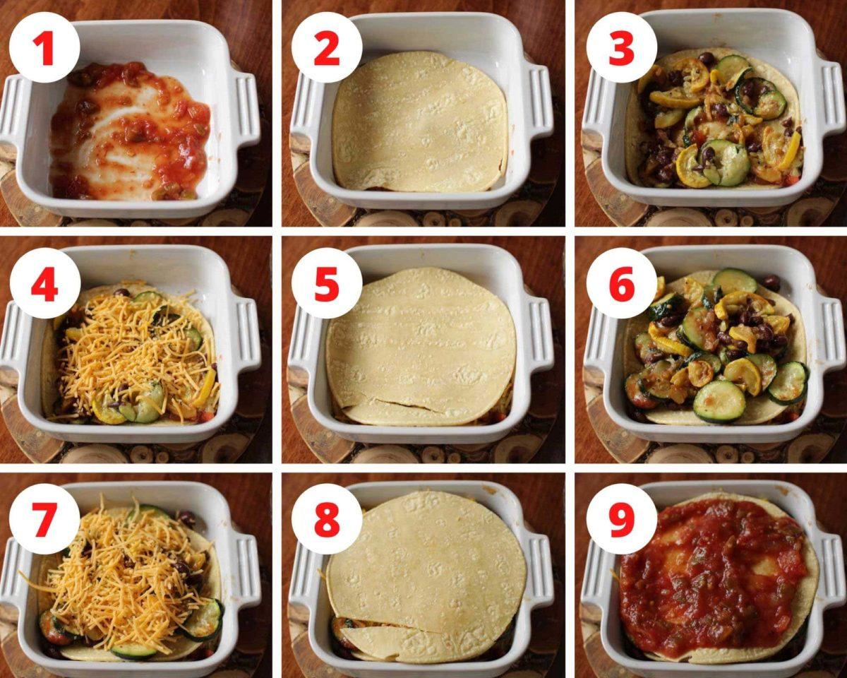 Nine photos showing how to make a vegetarian enchilada.