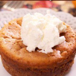 a mini pumpkin pie with whipped cream