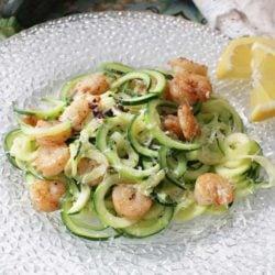 healthy shrimp scampi - zucchini noodles with shrimp | one dish kitchen