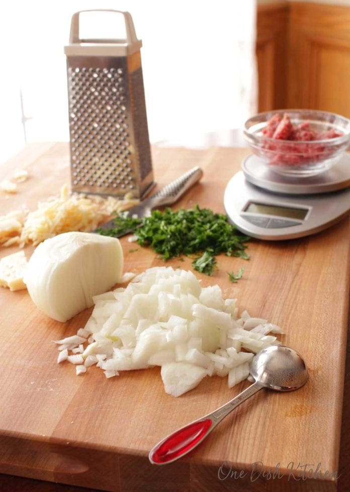 ingredients for making a meatball | one dish kitchen