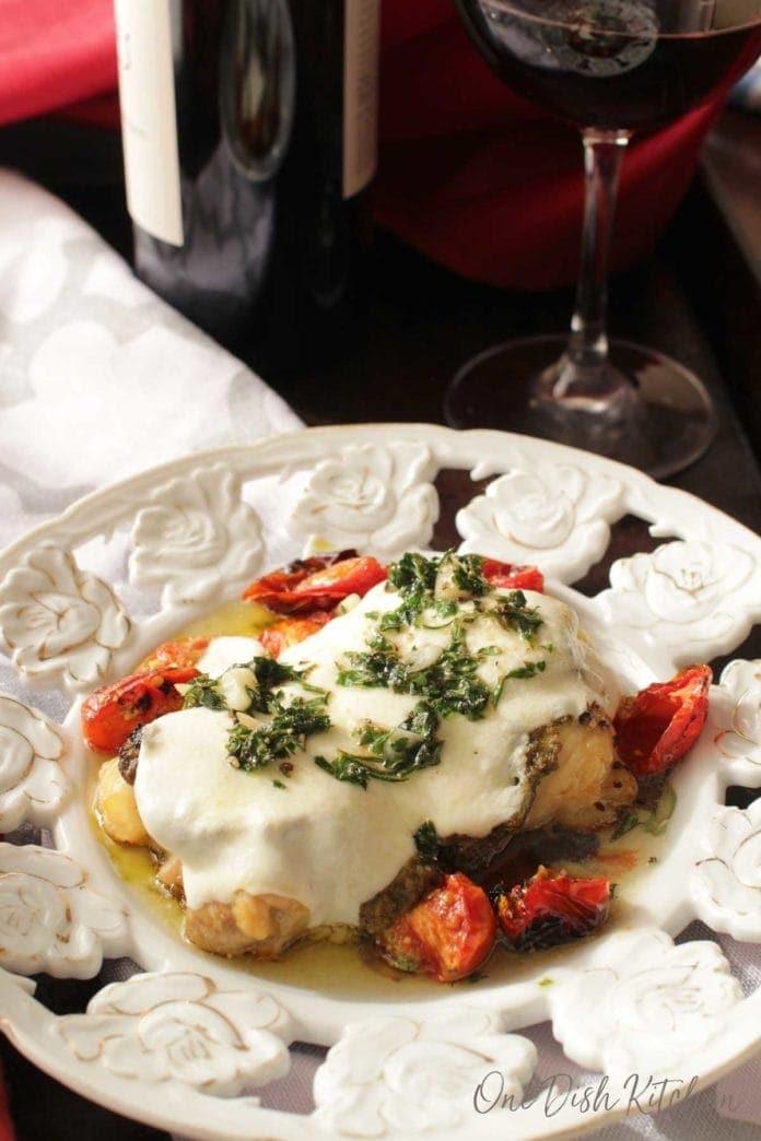 chicken margherita on a plate | one dish kitchen