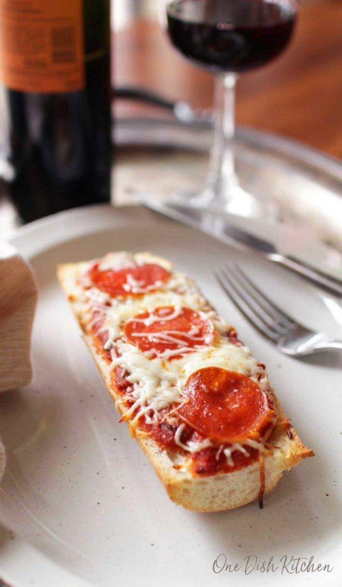 french bread pizza with pepperoni and mozzarella   one dish kitchen