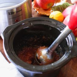 using an immersion blender to puree apple butter | one dish kitchen