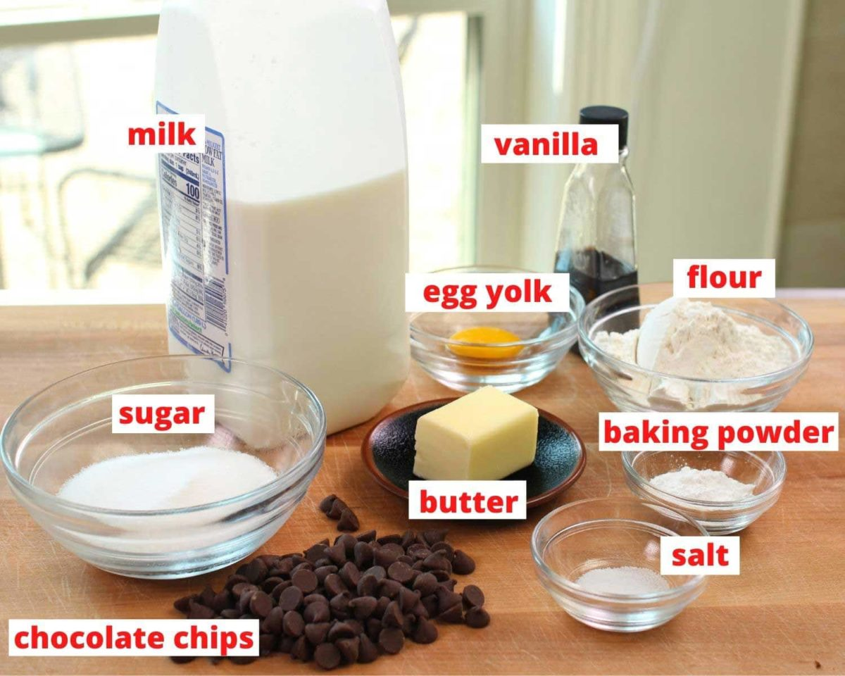 the ingredients needed to make a chocolate chip muffin labeled on a table.