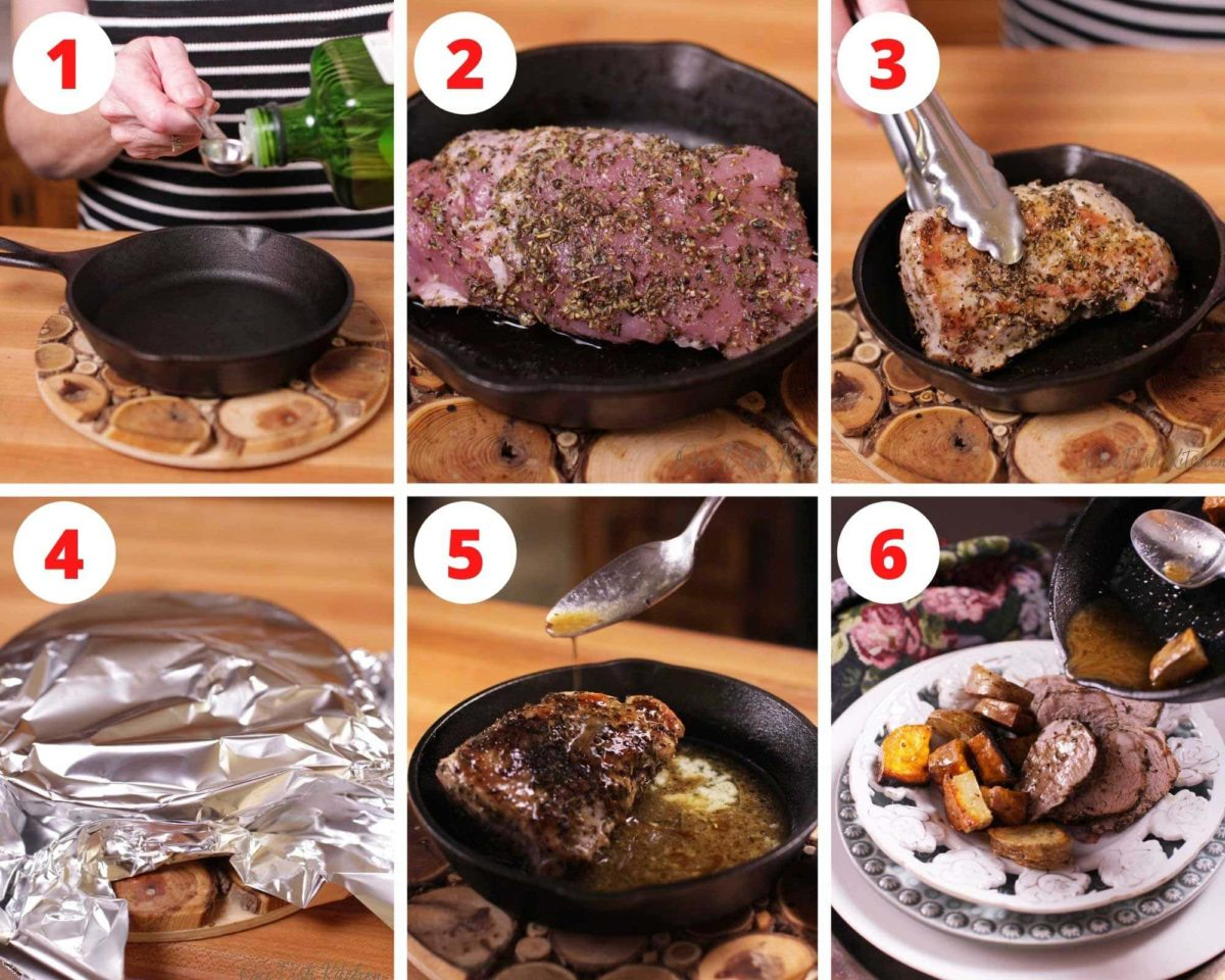 Six pictures showing the steps needed to make pork tenderloin in a cast iron skillet.
