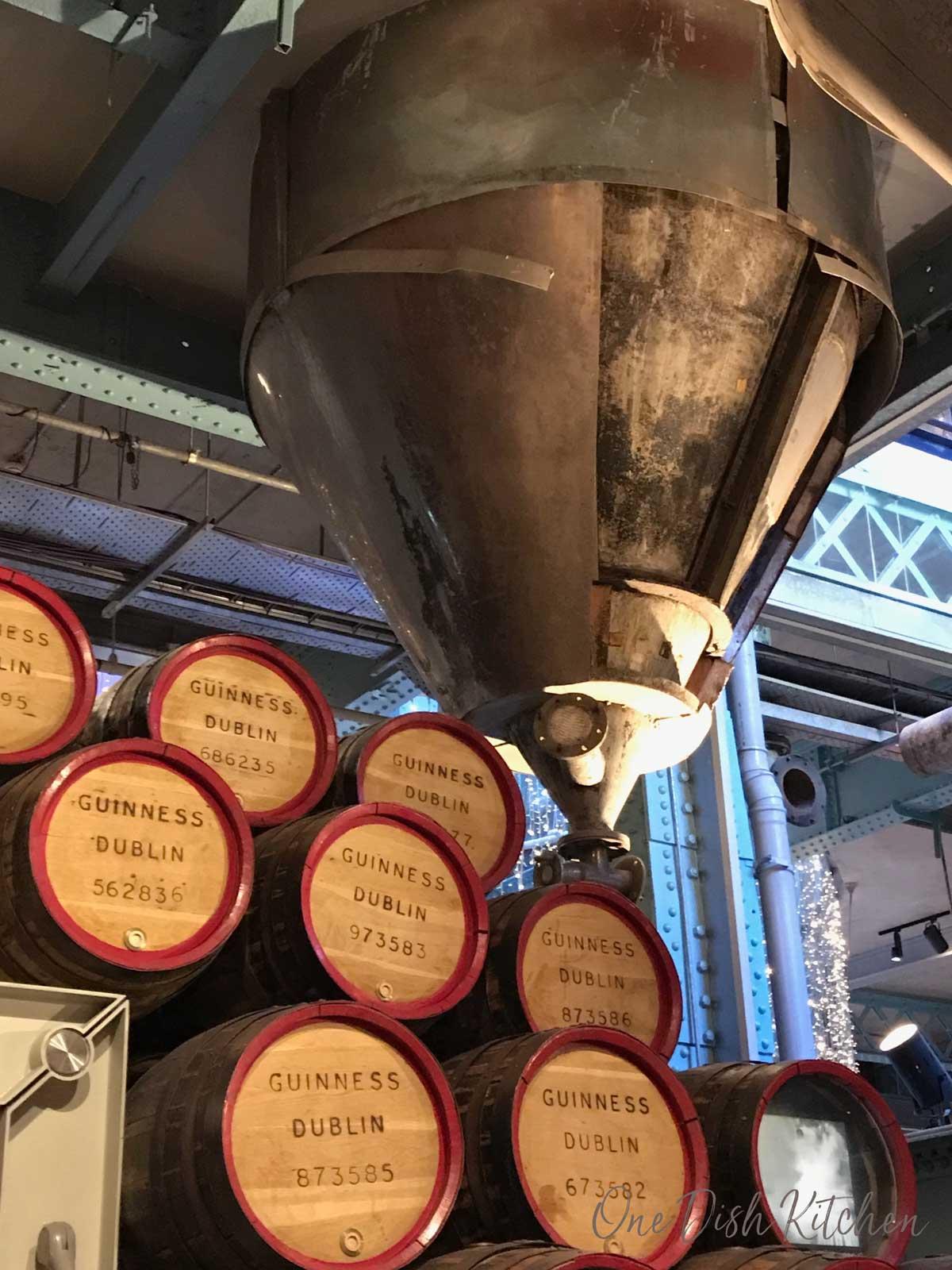 Kegs of beer stacked in the Guinness storehouse in Dublin, Ireland