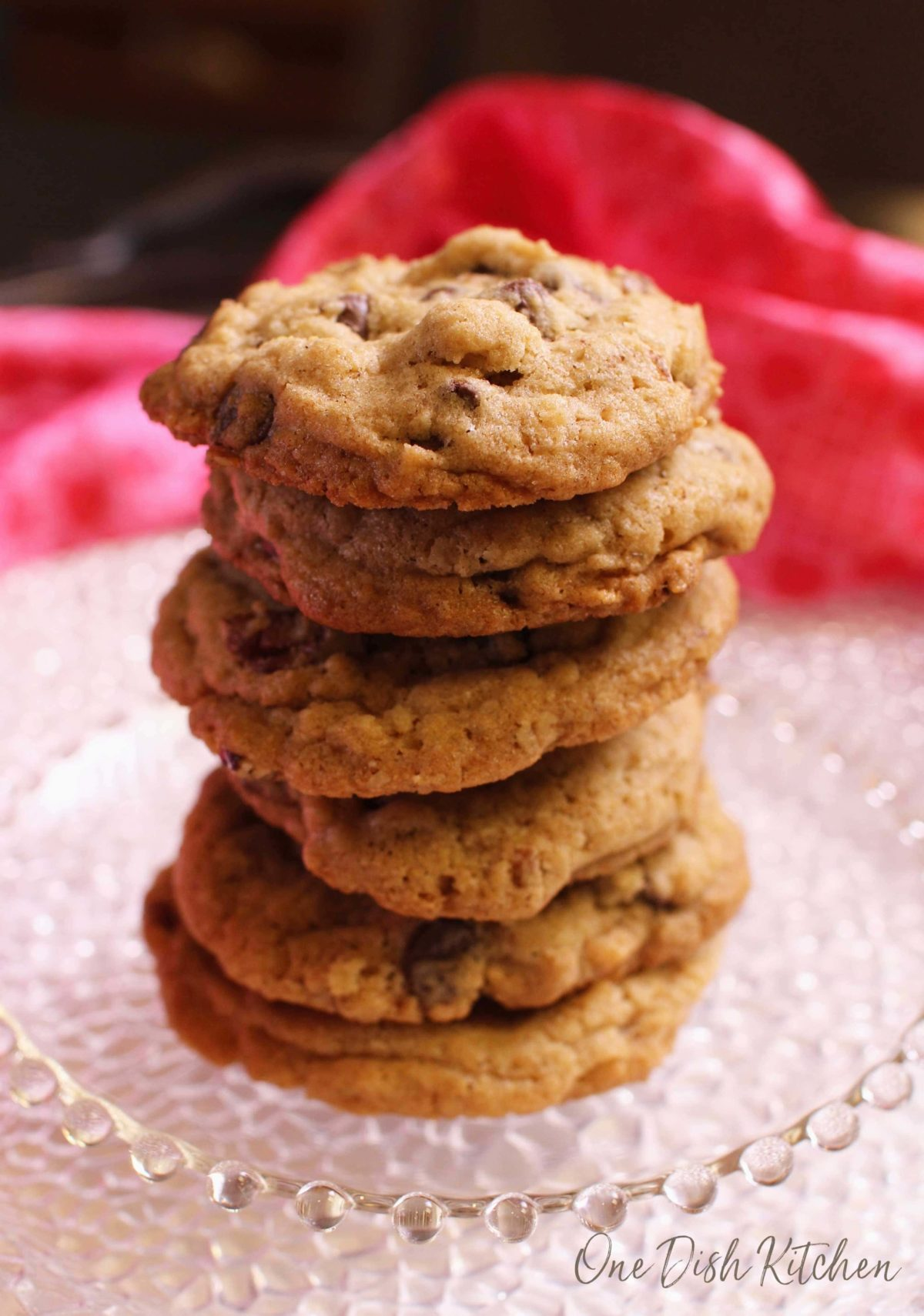 a stack of doubletree cookies on a plate