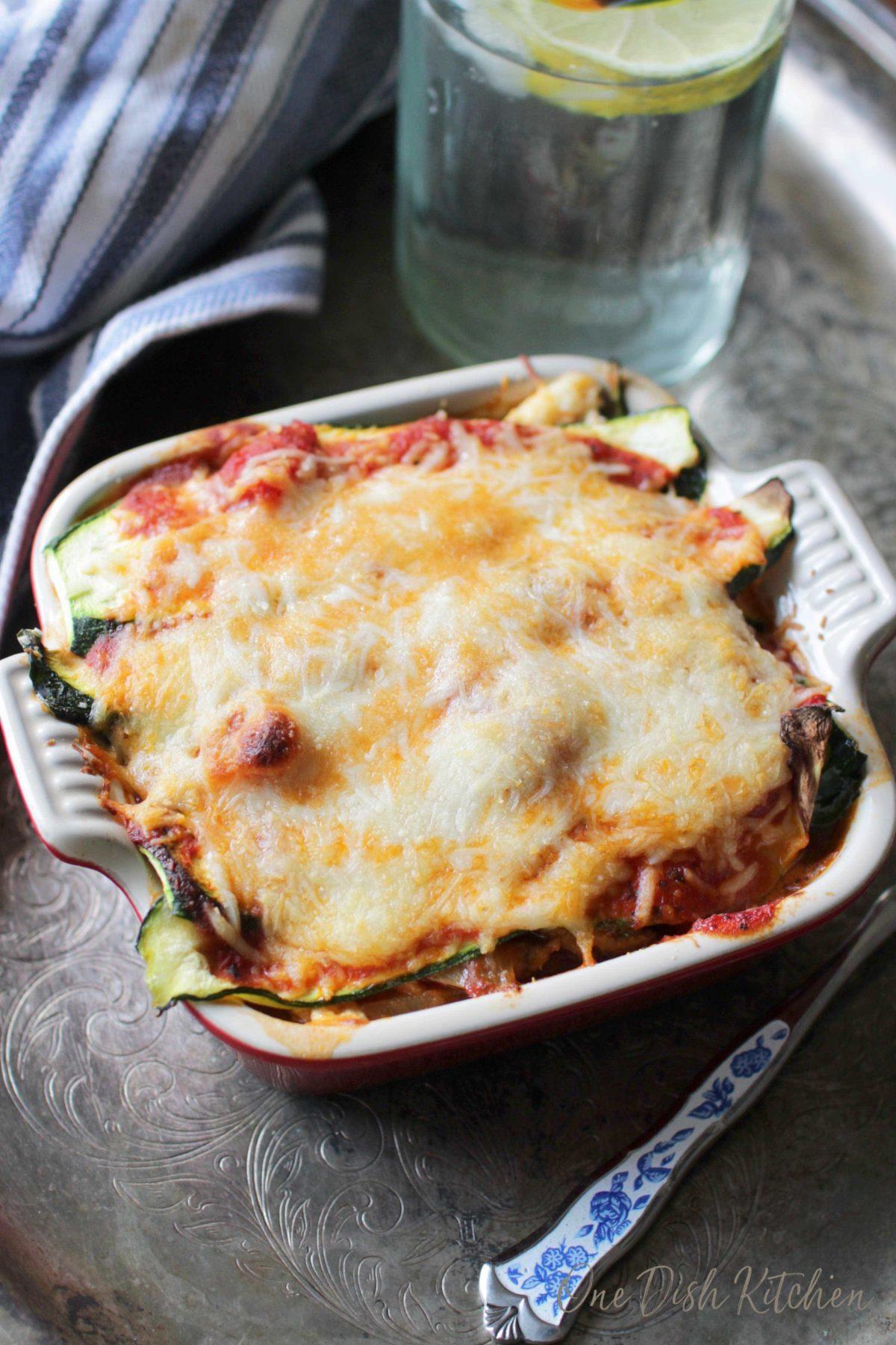 A mini zucchini lasagna in a small baking dish