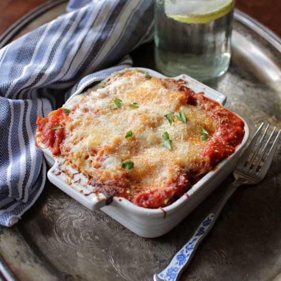 baked lasagna in a square baking dish