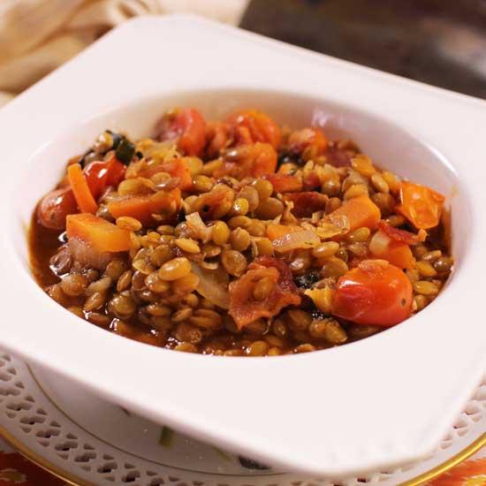 a bowl of lentil stew