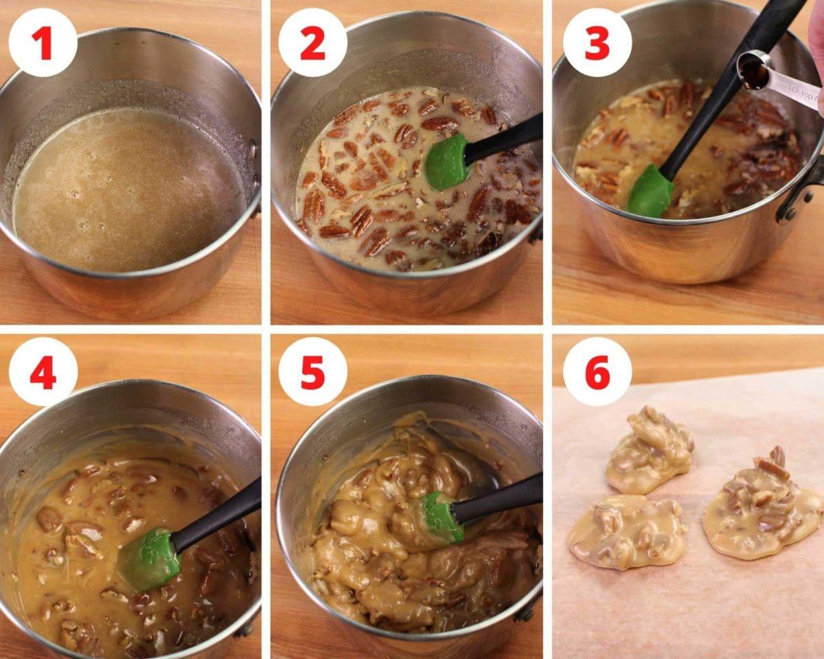 Six photos showing how to make pecan pralines.
