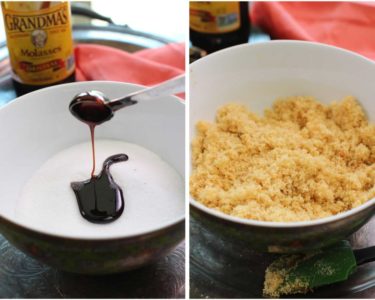 two photos showing molasses being poured into sugar and mixing the two ingredients together in the second picture.