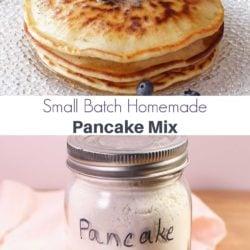 a stack of pancakes next to a jar of pancake mix