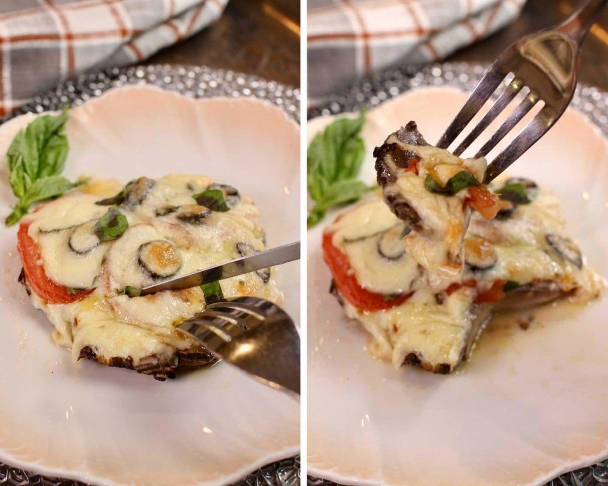 a fork and a knife cutting into a portobello mushroom pizza